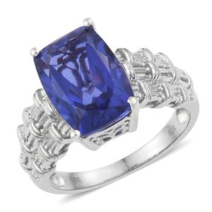 Playa Quartz Platinum Over Sterling Silver Woven Solitaire Ring (Size 10.0) TGW 7.25 cts.