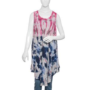 Light Blue Tie & Die, Hand Block Printed Umbrella Dress (43x24 in, 100% Viscose)