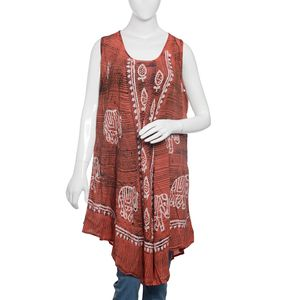 Peach Bohemian Elephant Print Bagru Hand Block Printed and Embroidered Umbrella Dress (43x24 in, 100% Viscose)