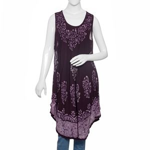 Purple 100% Viscose Batik Printed and Embroidered Crepe Umbrella Dress (One Size)