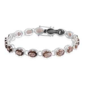 Brazilian Smoky Quartz Sterling Silver Bracelet (7.50 In) TGW 21.78 cts.