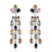 Multi Sapphire Platinum Over Sterling Silver Earrings TGW 6.96 cts.