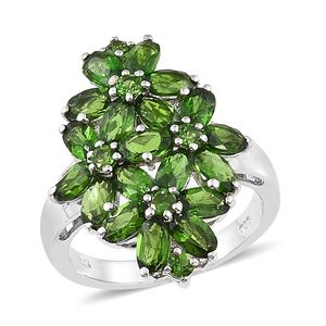 Nikki's Pick Russian Diopside Platinum Over Sterling Silver Cluster Floral Ring (Size 5.0) TGW 5.18 cts.