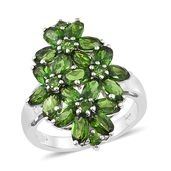 Nikki's Pick Russian Diopside Platinum Over Sterling Silver Cluster Floral Ring (Size 7.0) TGW 5.18 cts.
