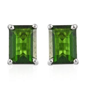 Russian Diopside Platinum Over Sterling Silver Stud Earrings TGW 2.24 cts.