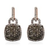 Natural Champagne Diamond, Diamond Black Rhodium & Vermeil RG Over Sterling Silver Cluster Dangle Earrings TDiaWt 0.75 cts, TGW 0.75 cts.