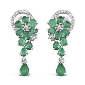 Brazilian Emerald, Cambodian Zircon Platinum Over Sterling Silver Earrings TGW 3.46 cts.