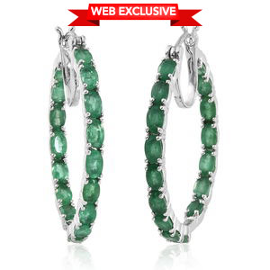 Brazilian Emerald Platinum Over Sterling Silver Hoop Earrings TGW 8.25 cts.
