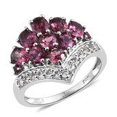 Orissa Rhodolite Garnet, White Topaz Platinum Over Sterling Silver Crown Ring (Size 5.0) TGW 4.50 cts.