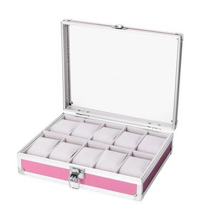 Pink Aluminium 10 Slots Watch Box with Scratch Protection Velvet Lining (10x2.5x8 in)