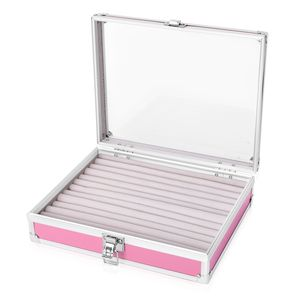 Pink Aluminium & Silvertone Ring Box with Latch Closure (10x8.1x2.8 in)