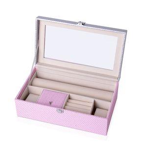Pink Faux Leather Polka Dot Pattern Rac Shape Jewelry Box (12.4x7x4.3 in)