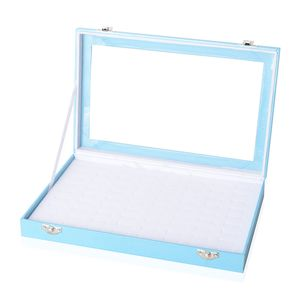 Sky Blue Leatherette Paper Ring Box (72 Rings) (11.5x1.5x7 in)