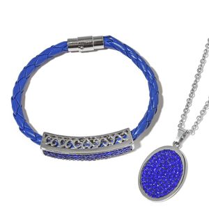 Blue Austrian Crystal, Faux Leather, Stainless Steel Bracelet (8 in) and Pendant With Chain (20.00 In) TGW 3.82 cts.