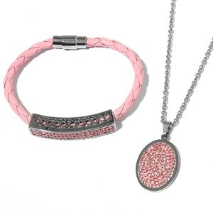 Simulated Pink Sapphire Pink Woven Faux Leather, Stainless Steel Cluster Bracelet (8 in) and Pendant With Chain (20.00 In)