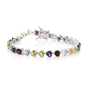 TLV Multi Gemstone Platinum Over Sterling Silver Bracelet (6.75 In) TGW 13.22 cts.