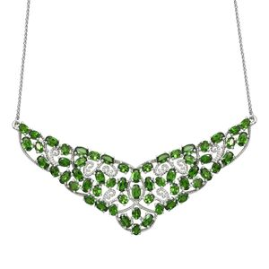 Russian Diopside Platinum Over Sterling Silver Princess Necklace (18 in) TGW 12.20 cts.