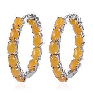 Burmese Honey Jade Sterling Silver Inside Out Hoop Earrings TGW 13.75 cts.