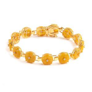 Burmese Honey Jade, White Zircon 14K YG Over Sterling Silver Bracelet (6.50 In) TGW 25.11 cts.