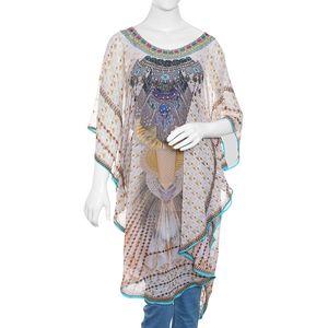Kathakali - Beige 100% Polyester Digital Printed Kaftan (One Size)