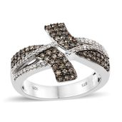 Natural Champagne Diamond, Diamond Black Rhodium & Platinum Over Sterling Silver Fancy Bypass Ring (Size 8.0) TDiaWt 0.75 cts, TGW 0.75 cts.