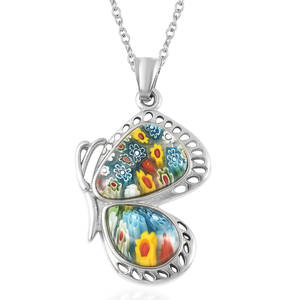 Murano Millefiori Glass Stainless Steel Pendant With Chain (20 in) TGW 5.00 cts.