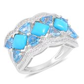 Arizona Sleeping Beauty Turquoise, Swiss Blue Topaz, White Zircon Sterling Silver Ring (Size 9.0) TGW 4.36 cts.
