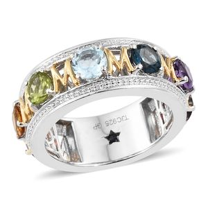 GP Multi Gemstone 14K YG and Platinum Over Sterling Silver Mom Eternity Ring (Size 6.0) TGW 3.91 cts.