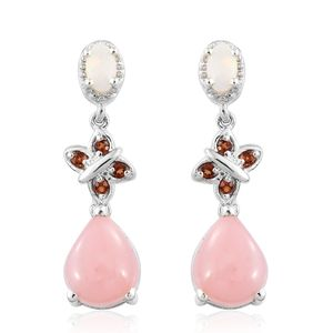 GP Peruvian Pink Opal, Multi Gemstone Platinum Over Sterling Silver Butterfly Drop Earrings TGW 4.06 cts.