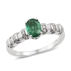 Premium Emerald, Diamond Platinum Over Sterling Silver Ring (Size 7.0) TDiaWt 0.34 cts, TGW 1.34 cts.