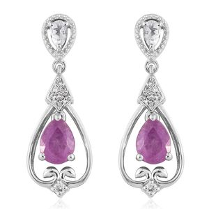 Niassa Pink Sapphire, White Topaz Platinum Over Sterling Silver Earrings TGW 3.89 cts.