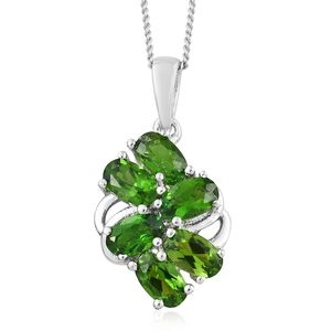 Russian Diopside Platinum Over Sterling Silver Pendant With Chain (20 in) TGW 1.56 cts.