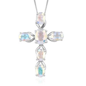 Mercury Mystic Topaz Platinum Over Sterling Silver Cross Pendant With Chain (20 in) TGW 7.00 cts.