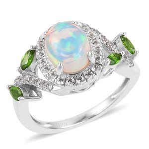 Ethiopian Welo Opal, Multi Gemstone Sterling Silver Leaf Ring (Size 7.0) TGW 2.19 cts.