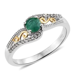 Brazilian Emerald, Cambodian Zircon 14K YG and Platinum Over Sterling Silver Openwork Ring (Size 8.0) TGW 0.65 cts.