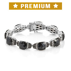 Thai Black Spinel, Cambodian Zircon Platinum Over Sterling Silver Bracelet (7.25 In) TGW 52.25 cts.