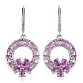 Madagascar Pink Sapphire, White Topaz Platinum Over Sterling Silver Earrings TGW 3.840 Cts. TGW 3.84 Cts.