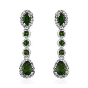 Russian Diopside, Cambodian Zircon Platinum Over Sterling Silver Dangle Drop Earrings TGW 2.67 cts.