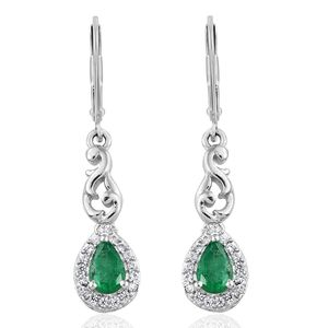 Brazilian Emerald, Cambodian Zircon Platinum Over Sterling Silver Earrings TGW 1.06 cts.