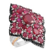 Fissure Filled Ruby, Multi Gemstone Platinum Over Sterling Silver Ring (Size 7.5) TGW 11.28 cts.