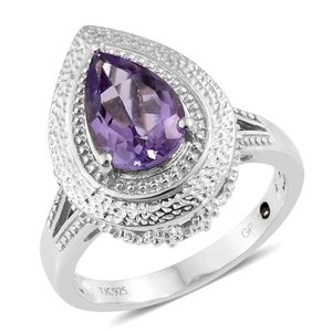 GP Rose De France Amethyst Platinum Over Sterling Silver Ring (Size 8.0) TGW 2.73 cts.