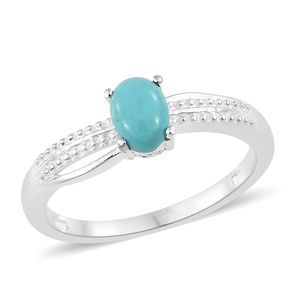 Sonoran Blue Turquoise Sterling Silver Solitaire Ring (Size 7.0) TGW 0.75 cts.