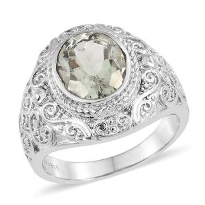 Green Amethyst Stainless Steel Ring (Size 7.0) TGW 3.25 cts.