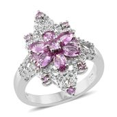 Madagascar Pink Sapphire, Cambodian Zircon Platinum Over Sterling Silver Ring (Size 9.0) TGW 2.79 cts.
