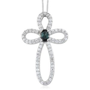 Monte Belo Indicolite, Cambodian Zircon Platinum Over Sterling Silver Cross Pendant With Chain (20 in) TGW 1.00 cts.