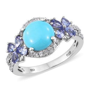Arizona Sleeping Beauty Turquoise, Multi Gemstone Platinum Over Sterling Silver Butterfly Ring (Size 8.0) TGW 4.55 cts.