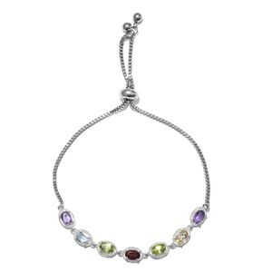 TLV Multi Gemstone Sterling Silver Bolo Bracelet (Adjustable) With Stainless Steel Chain Total Gem Stone Weight 3.12 Carat