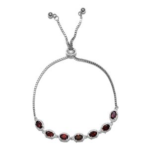 TLV Mozambique Garnet Sterling Silver Bolo Bracelet (Adjustable) with Stainless Steel Chain Total Gem Stone Weight 3.80 Carat