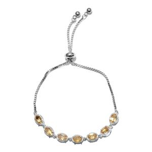 TLV Brazilian Citrine Sterling Silver Bolo Bracelet (Adjustable) With Stainless Steel Chain Total Gem Stone Weight 3.25 Carat