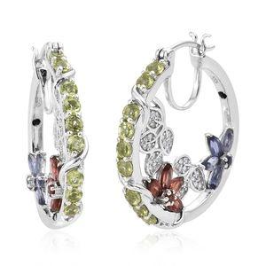 GP Multi Gemstone Platinum Over Sterling Silver Floral Hoop Earrings TGW 5.81 cts.